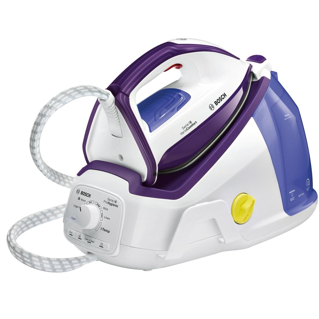 Fotografie Statie de calcat Bosch TDS6080, Talpa CeraniumGlissée Pro, 2400W, 400 g, 1.5 l, Functie Eco, Functie I-Temp Advanced,Program Hygiene, Alb/Mov