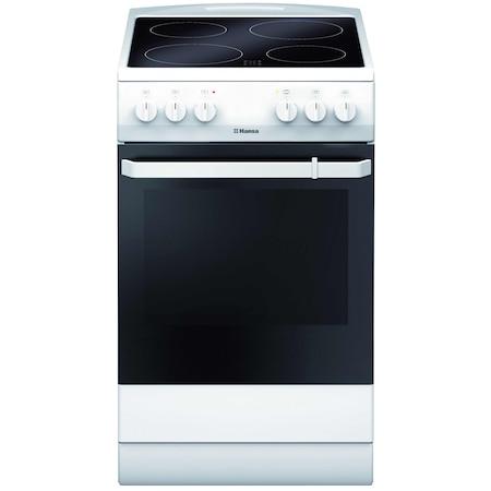 Aragaz Hansa FCCW580009, electric, 4 zone de gatit, cuptor 65 l, alb