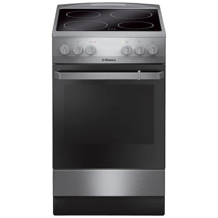 Aragaz Hansa FCCX580009, electric, 4 zone de gatit, cuptor 65 l, argintiu