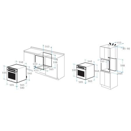 Pachet Pyramis SMARTLINE BASIC Ecoline Glass, cuptor electric 3 functii, plita cu gaz si hota telescopica