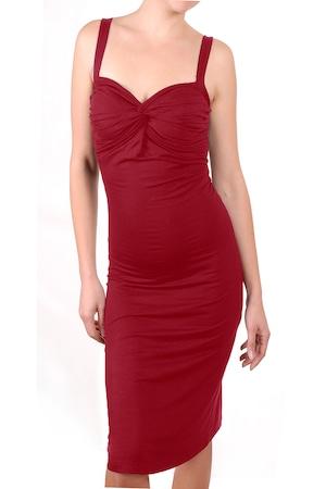 Дамска рокля Ivanel Туист с усукано деколте и презрамки, Тъмночервен