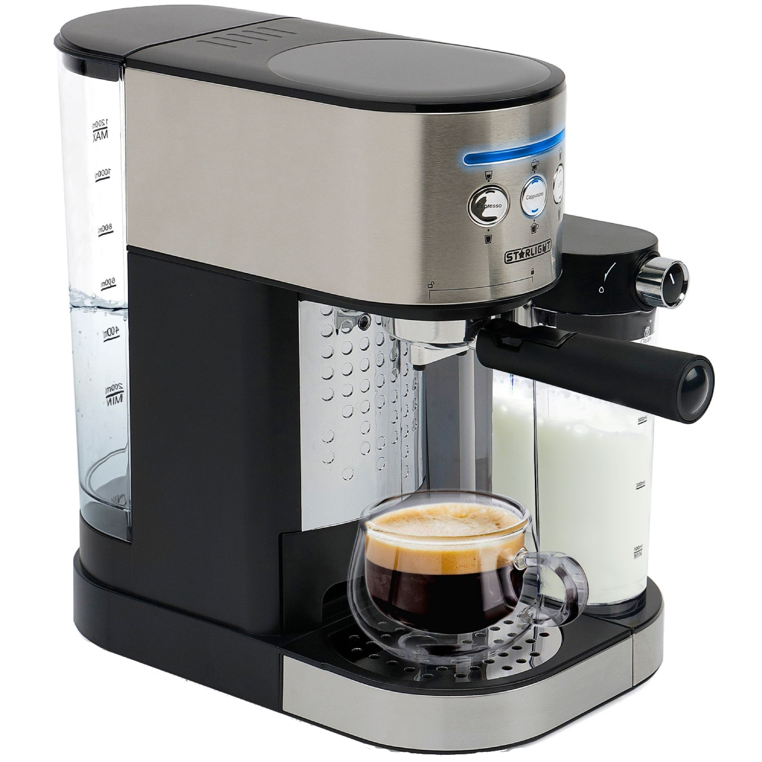 Fotografie Espressor manual Star-Light ESD-170SS, 15 Bar, 1.7 l, Dispozitiv spumare, Recipient detasabil lapte 0,5 l, Inox