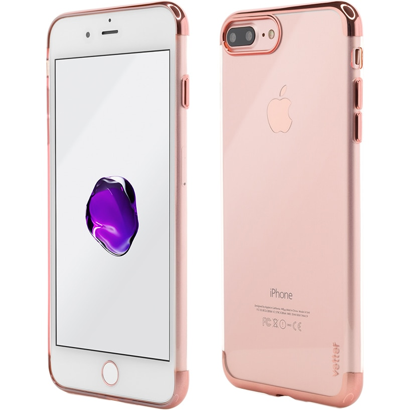 Fotografie Husa de protectie Vetter Clip-On Shiny Soft Series pentru iPhone 8 Plus / iPhone 7 Plus, Rose Gold
