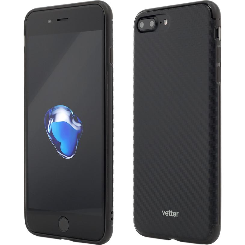 Fotografie Husa de protectie Vetter Clip-On Hybrid Slim Series pentru iPhone 8 Plus / iPhone 7 Plus, Carbon Look, Black