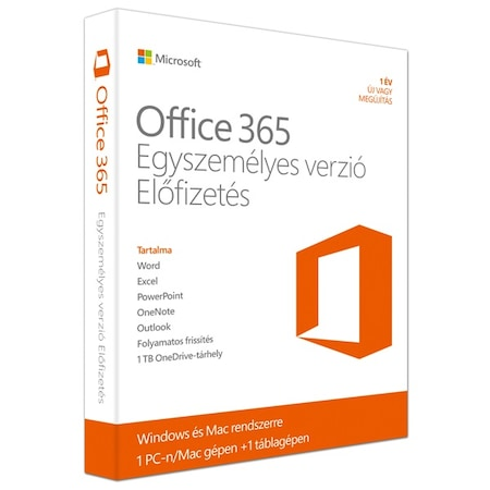 Microsoft Office 365 Egyszemélyes verzió, 32/64bit, Magyar