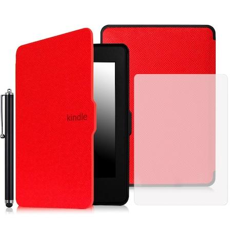 Комплект калъф Smart за Kindle Paperwhite, Протектор, Писалка, Червен