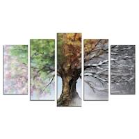 Картина-пано за стена Iwidecor, 5 части, Сезони, PVC 5мм., Размер S, 108x60 см.