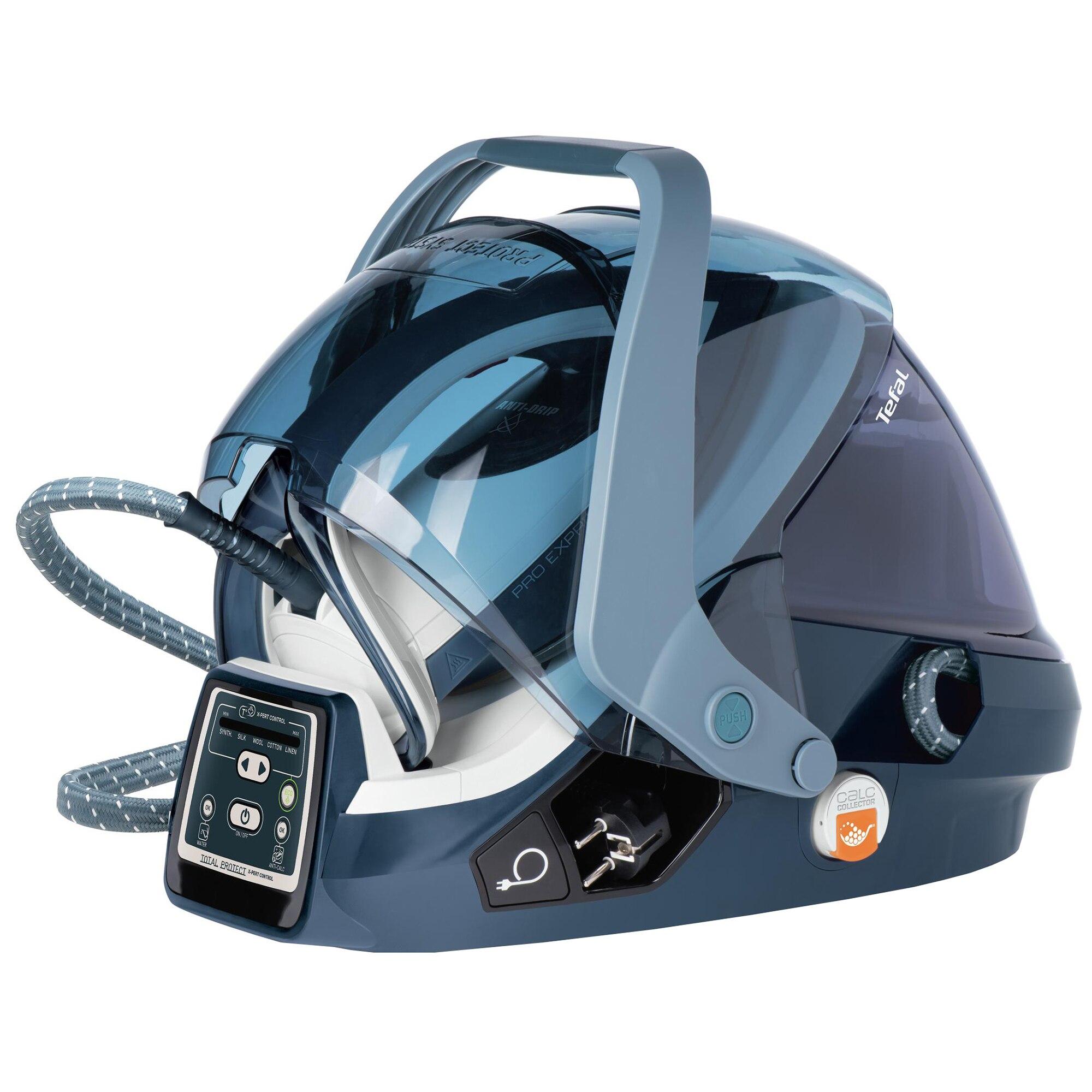 Fotografie Statie de calcat Tefal GV9080E0 Pro Express X-Pert Care, 2400W, 500g/min, 120g/min, Talpa Autoclean Durilium, 7.5 bari, 5 setari, Protect System, 1.6l, Alb/Albastru