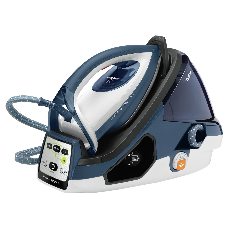 Fotografie Statie de calcat Tefal GV9060E0 Pro Express Care, 2400W, 470g/min, 120g/min, Talpa Autoclean Durilium, 7 bari, 3 setari, Protect System, 1.6l, Alb/Albastru