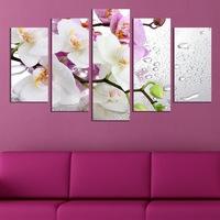 Картина-пано за стена Iwidecor, 5 части,Бели и лилави орхидеи, PVC 5мм., Размер S 108x60 см.