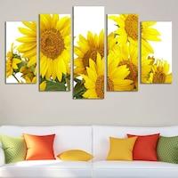 Картина-пано за стена Iwidecor, 5 части,Слънчогледи, PVC 5 мм., Размер L 158х90 см.