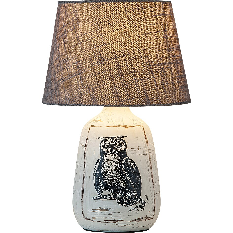 Fotografie Lampa Rabalux Dora, E27, 1x40W, 38 cm, ceramica/textil, Alb/Gri