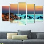Картина-пано за стена Iwidecor, 5 части,Залез над морето, Канава (платно от 100% памук) в/у дървени подрамки, Размер S 108х60 см.