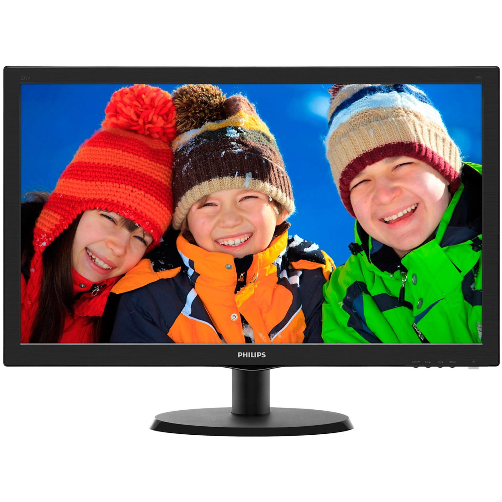 "Fotografie Monitor LED TN Philips 21.5"", Wide, Full HD, DVI, Negru, 223V5LSB"