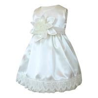 Lux szatén keresztelőruha, alkalmi ruha lányoknak - Csilla (Ekrü, 80 (12 hó))