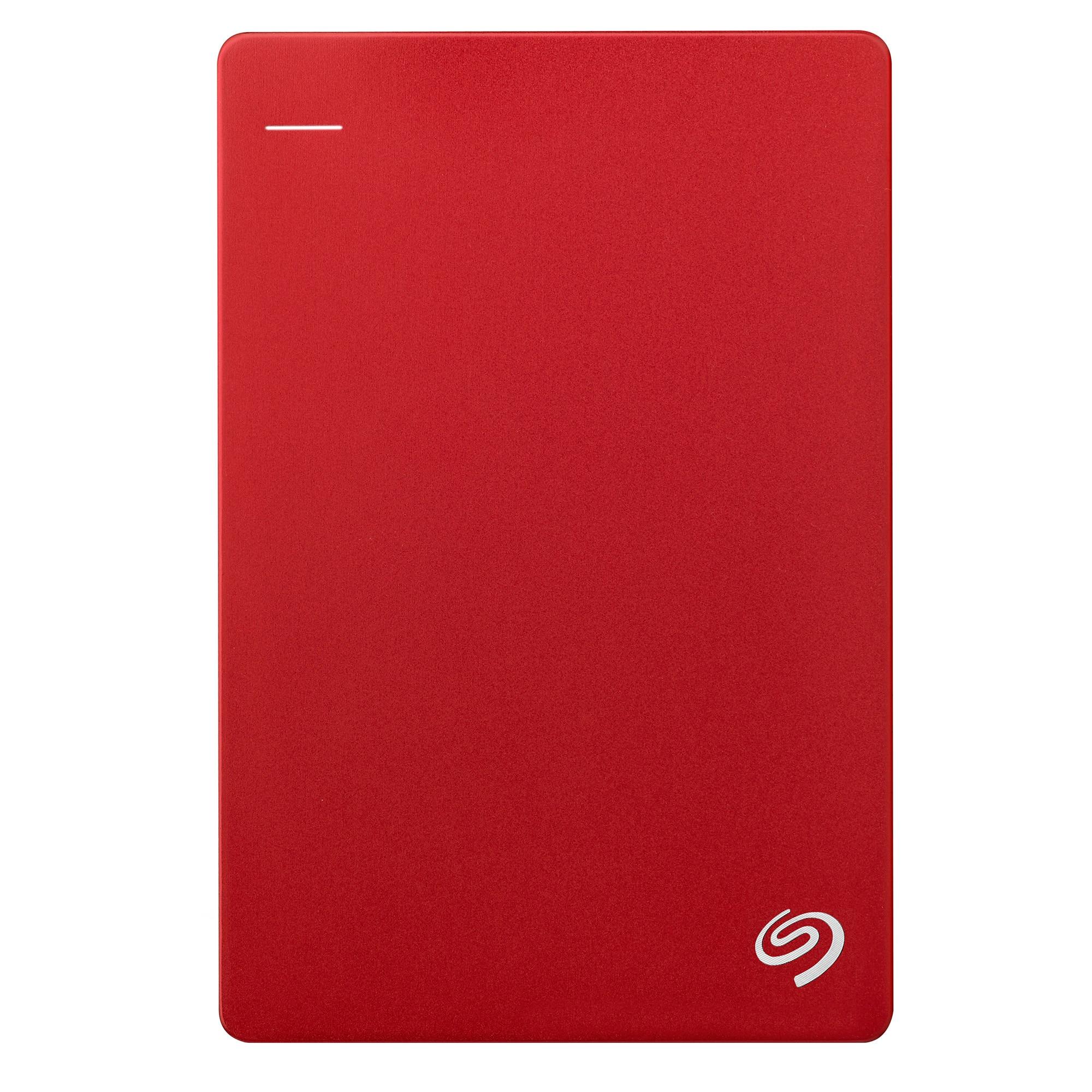 "Fotografie HDD extern Seagate Backup Plus Slim Portable, metalic, 1TB, 2.5"", USB 3.0, Rosu"
