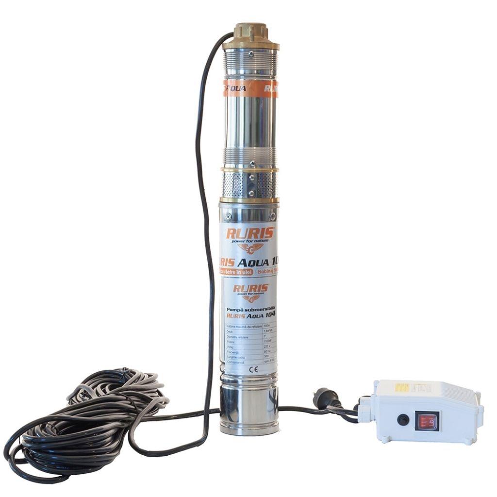 Fotografie Pompa submersibila apa curata de adancime Ruris Aqua 104, 1100 W, 1.8m³/h depit apa, 100 m inaltime refulare, 15 m adancime absorbtie, 35°C temperatura maxima