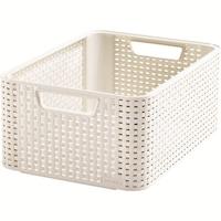 Curver Ratan M utánzatu tároló doboz fogantyűval, 18 L, Fehér