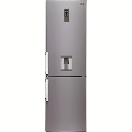 Combina frigorifica LG GBF530NSQPB Full No Frost, 339 l, Clasa A++, H 201 cm, Dispencer apa, Inox