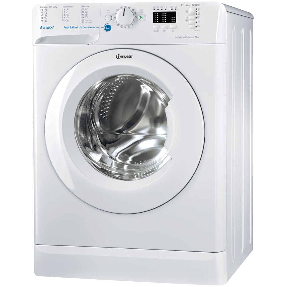 Fotografie Masina de spalat rufe Slim Indesit INNEX, BWSA 61253 W EU, 6 kg, 1200 rpm, Clasa A+++, Push&Wash, Alb