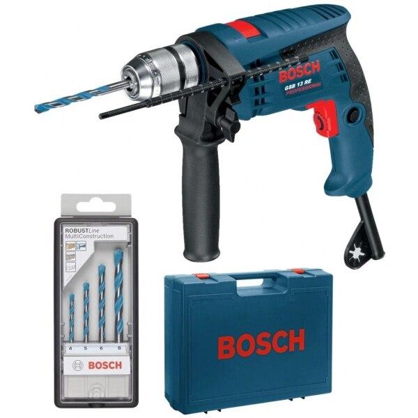 Fotografie Set Bosch Professional masina de gaurit cu percutie (bormasina) GSB 13 RE + set 4 burghie MultiConstruction + Valiza