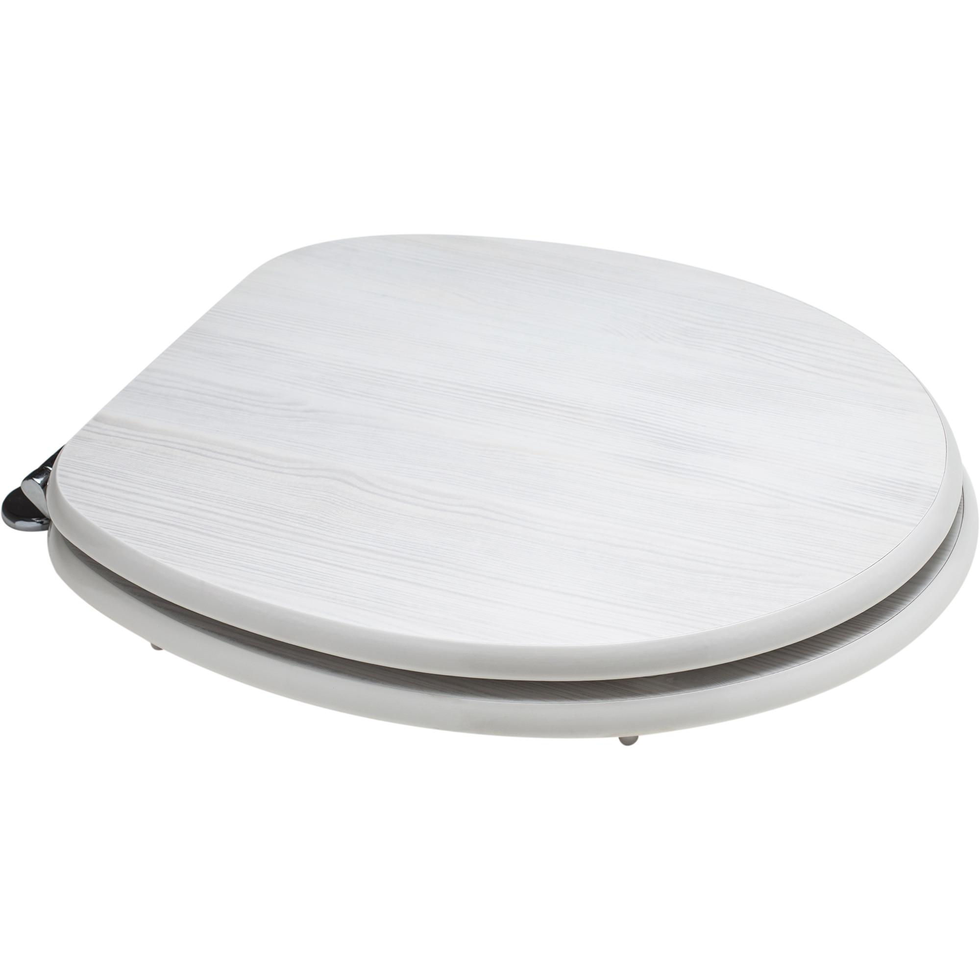 Fotografie Capac WC universal Kring Rovere Bianco, din MDF, 37.5x5.5x44.3cm, cu balamale metalice