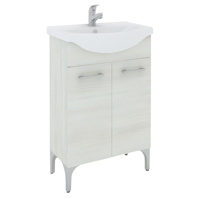 Fotografie Baza mobilier Kring Rovere Bianco, cu doua usi si lavoar ceramic, 56.5x86x42.5cm, Alb