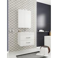 Kring Fly Tükrös fürdőszoba szekrény, 2 ajtó, LED lámpa, 63x75.5x15.5cm, Fehér