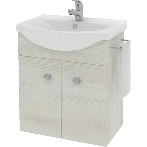Fotografie Baza mobilier Kring Zaffiro, cu doua usi, lavoar ceramic si suport prosop, 56.5x65x42.5cm, Alb