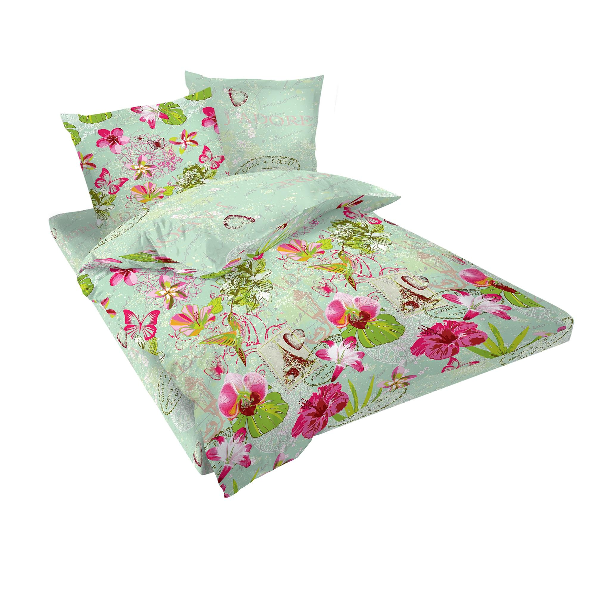 Fotografie Lenjerie de pat J'adore Dilios, pentru 2 persoane, bumbac satinat, multicolor