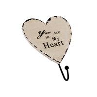 """Szív alakú fa fogas 1 fém akasztóval """"You Are in My Heart"""""""