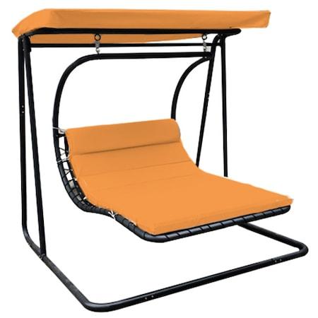 Leagan/Balansoar pentru gradina/terasa Kring Suri, 175x203x200 cm, negru/orange
