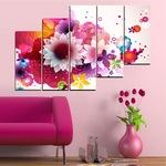 Декоративни панели Vivid Home от 5 части, Цветя, PVC, 160x100 см, 8-ма Форма №0047