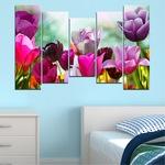 Декоративни панели Vivid Home от 5 части, Цветя, PVC, 110x65 см, 4-та Форма №0143
