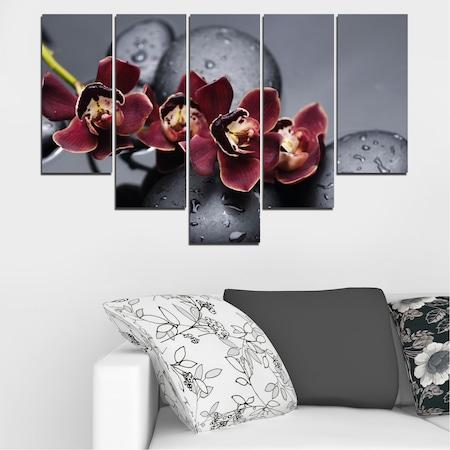Картини пана Vivid Home от 5 части, Орхидея, Канава, 110x65 см, 6-та Форма №0172