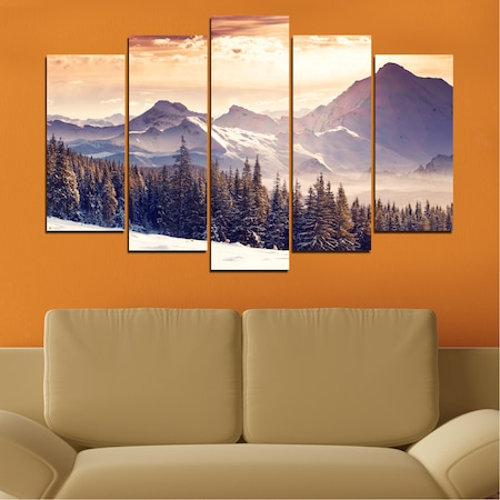Декоративни панели Vivid Home от 5 части, Пейзаж, PVC, 110x65 см, Стандартна форма №0145