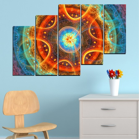 Декоративни панели Vivid Home от 5 части, Цветен, PVC, 160x100 см, 8-ма Форма №0153