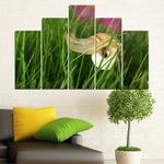 Декоративни панели Vivid Home от 5 части, Градина, PVC, 160x100 см, 5-та Форма №0187