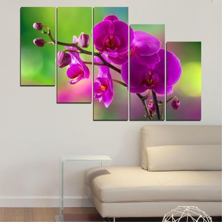 Картини пана Vivid Home от 5 части, Цветя, Канава, 110x65 см, 7-ма Форма №0202