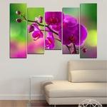 Картини пана Vivid Home от 5 части, Цветя, Канава, 110x65 см, 4-та Форма №0202