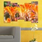 Декоративни панели Vivid Home от 5 части, Цветя, PVC, 160x100 см, 4-та Форма №0487