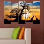 Картини пана Vivid Home от 5 части, Залез, Канава, 110x65 см, 3-та Форма №0555