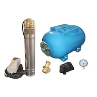 Пълен комплект за хидрофорна система, потопяема помпа за чиста вода Influent Economic TS5012/100, Резервоар 100 л, Пресостат, 5-пътен съединител, Манометър