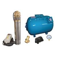 Комплект хидрофорна система, Потопяема помпа, 80-литров резервоар с манометър