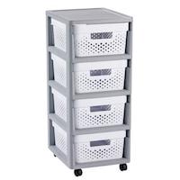 Curver INFINITY DOTS Kerekes szekrény fiókokkal, 4 doboz x 11L, Fehér