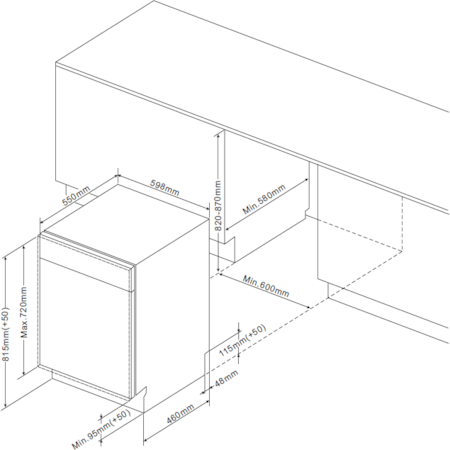 Masina de spalat vase incorporabila Hansa ZIM 634 B, 12 seturi, 4 programe, Clasa A++, 60 cm