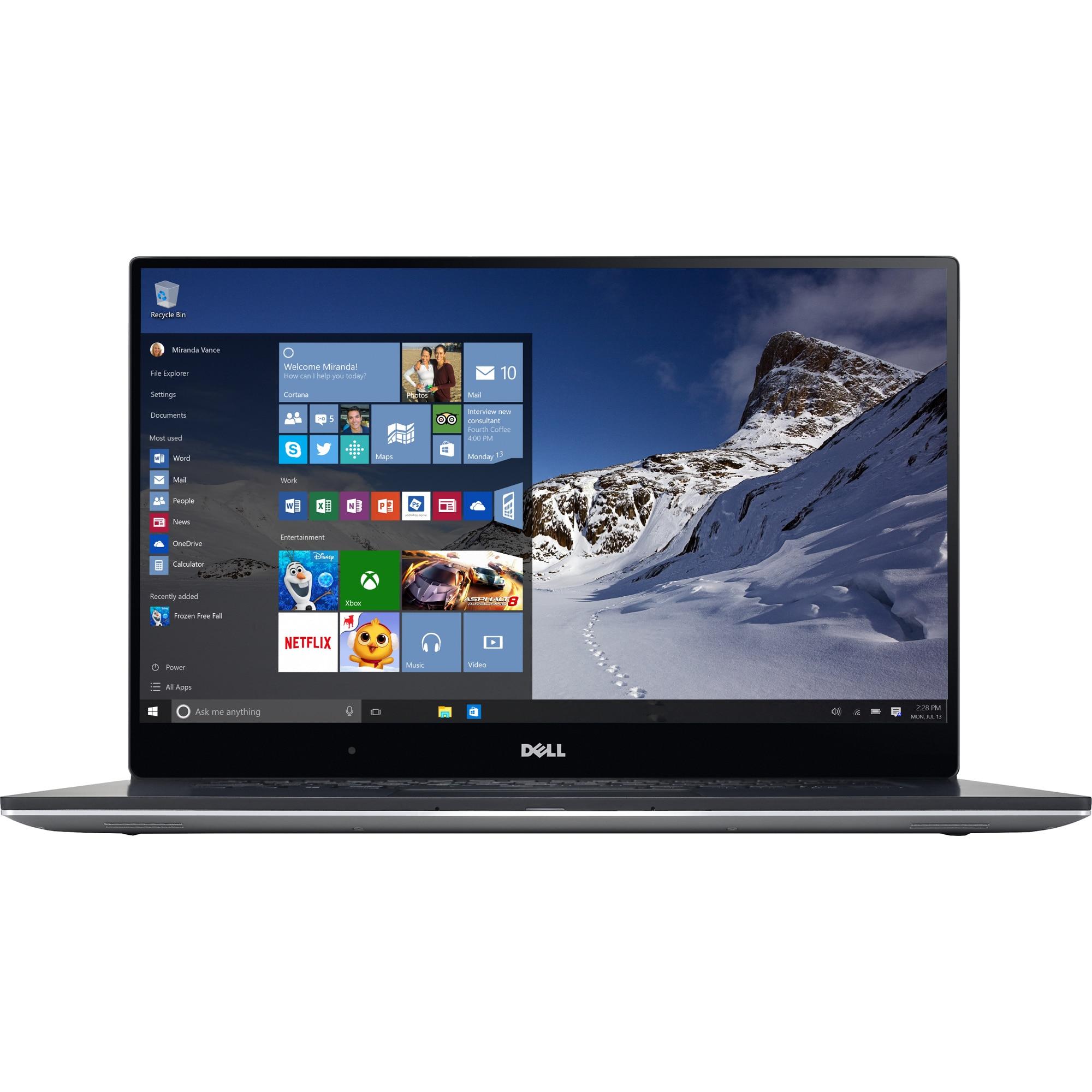 "Fotografie Ultrabook Dell New XPS 15 9560 cu procesor Intel® Core™ i7-7700HQ 2.80 GHz, Kaby Lake, 15.6"", UHD, Touchscreen, InfinityEdge, 16GB, 1TB SSD, nVIDIA GeForce GTX 1050 4GB, Microsoft Windows 10 Pro, Silver"