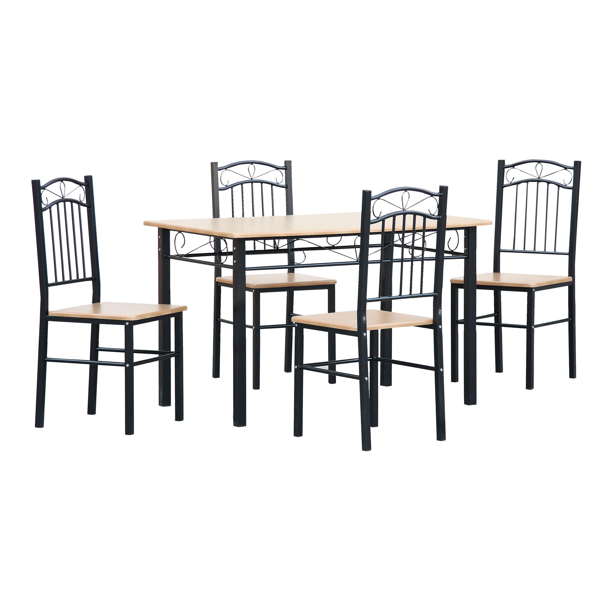Fotografie Set masa si 4 scaune bucatarie Kring Munchen, MDF, 110x70x75 cm, Sonoma