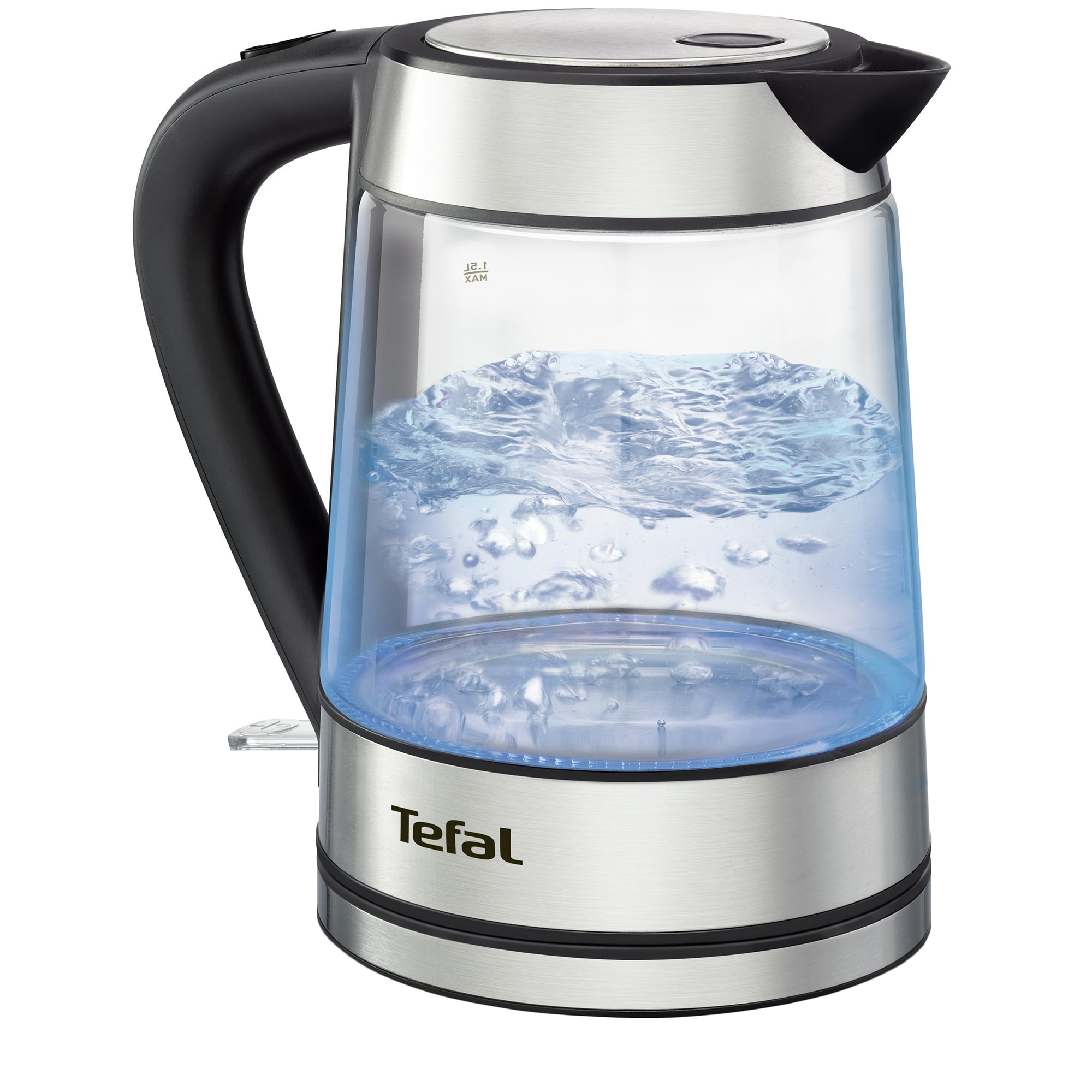 Fotografie Fierbator de apa Tefal Glass Kettle KI730D30, 2400W, 1.7L, Argintiu