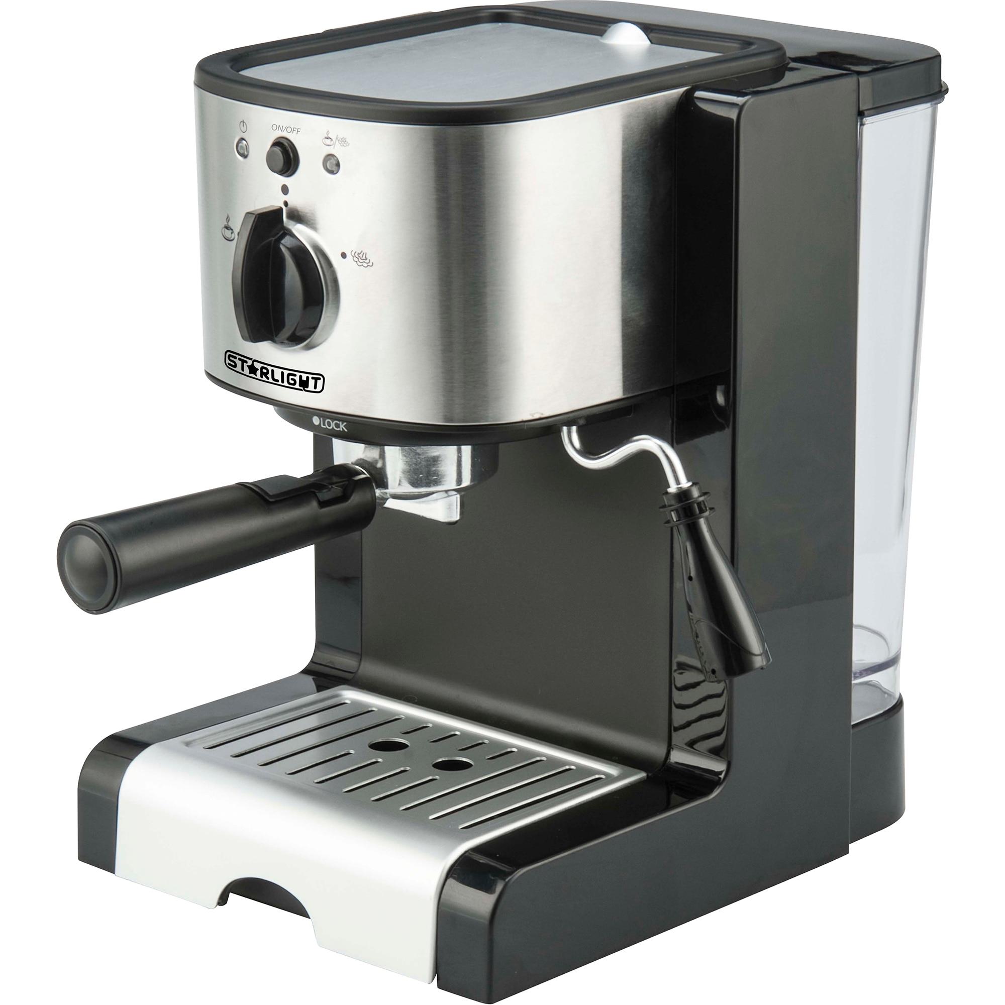 Fotografie Espressor manual Star-Light EMD-1515, 15 Bar, Dispozitiv spumare, 1.5 l, Negru/Inox